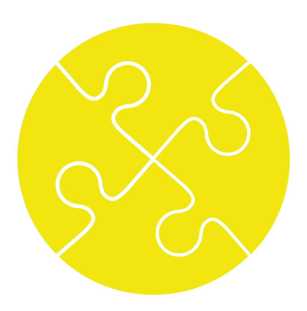 Four jigsaw pieces in a yellow circle